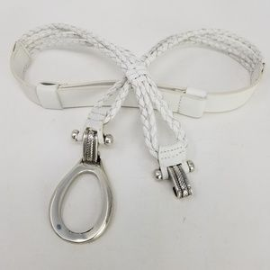 White Braided Belt Adjustable Slide Hook Buckle